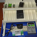 Charger organiser - re-used plastic tool box and 4 socket power board.