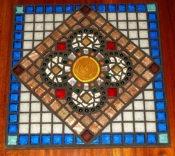 """""""Shimmer Flower"""" mosaic trivet"""