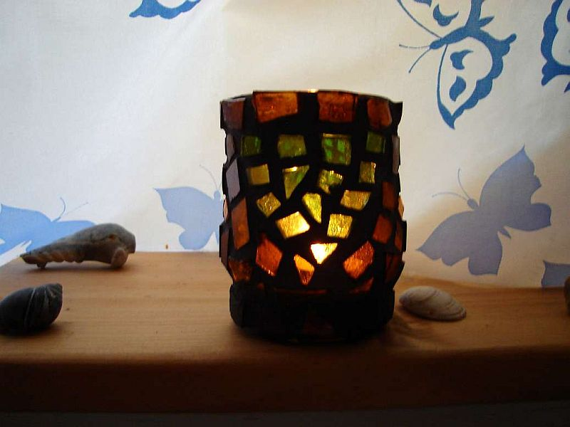 """Green Tara"" mosaic tea light candle holder"