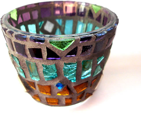 """Naquada"" mosaic tea light candle holder"
