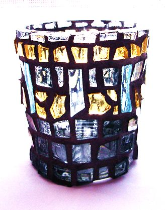"""Tears"" mosaic tea light candle holder"