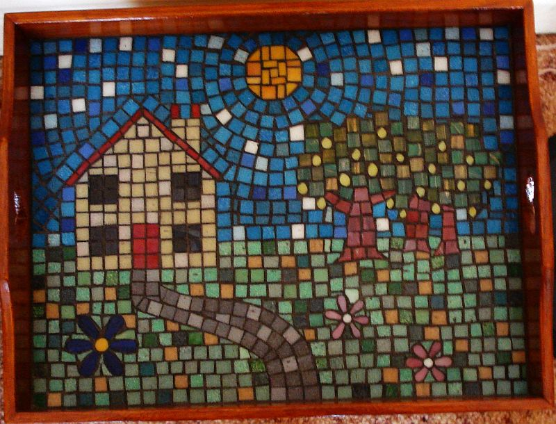 """Country Cottage"" mosaic tray"
