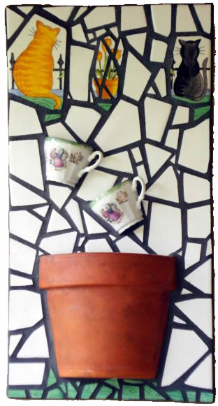 """Tea for Two"" mosaic panel"