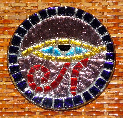"""Eye of Horus"" mosaic drink coaster"