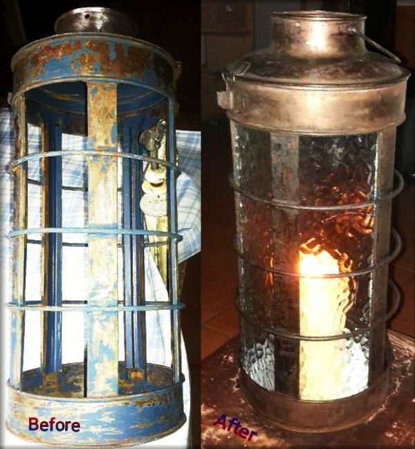 Lantern before & after