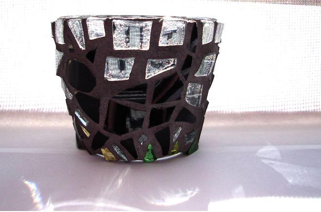"""Black Cat"" mosaic tea light candle holder"