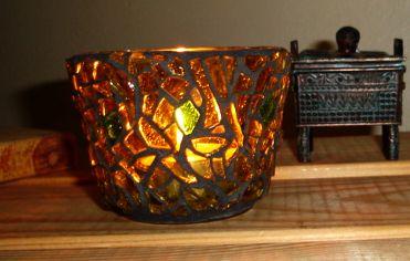 """Rising Sun"" mosaic tea light candle holder"
