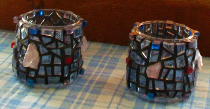 """Twin Flames"" mosaic tea light candle holders"