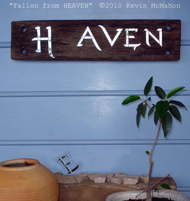 """Fallen from HEAVEN"" mosaic plaque"