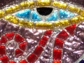 """Eye of Horus"" mosaic drink coaster"