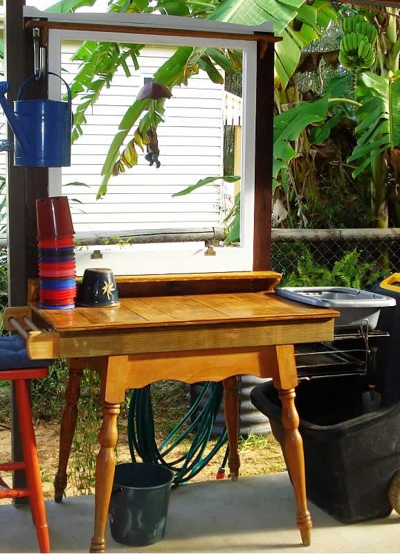 Whimsical potting bench